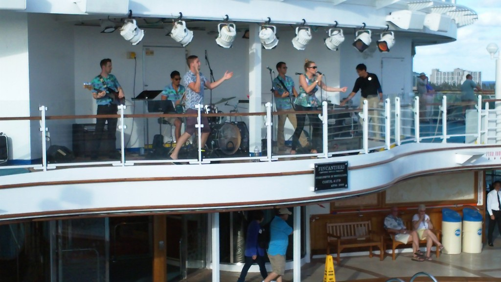Band plays as we leave Fort Lauderdale aboard the Ruby Princess - January 2015.