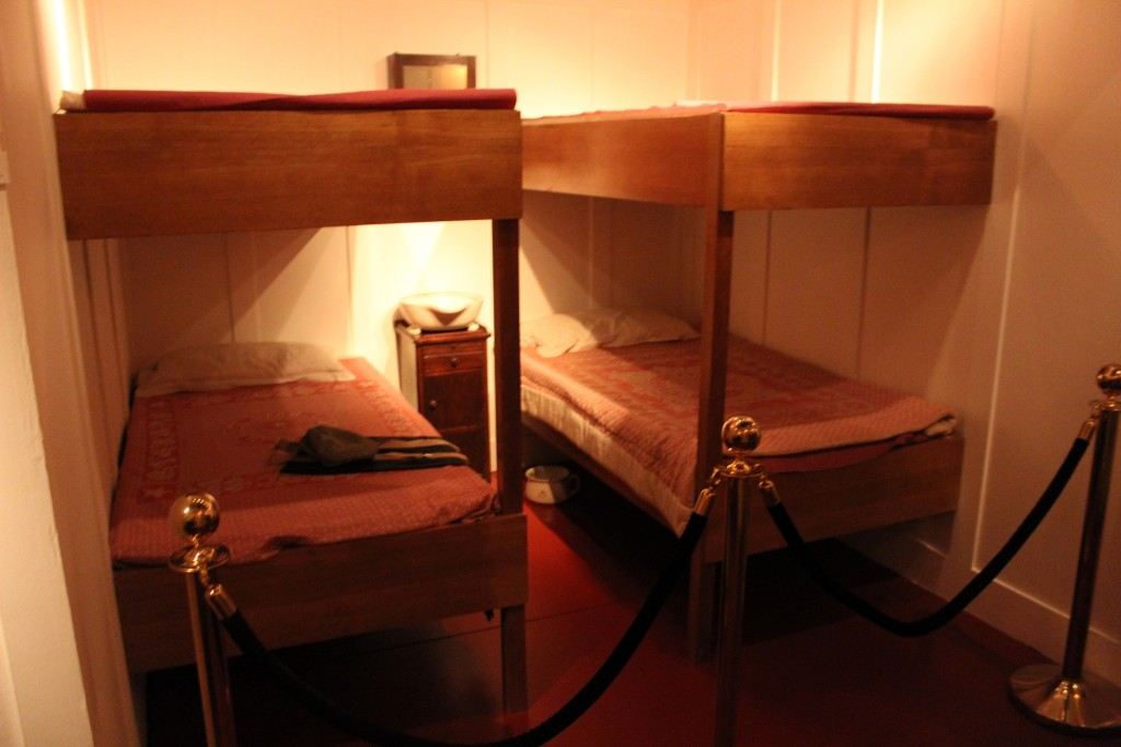 Third class passenger facilities on the Titanic as shown at the Titanic Exhibit in Perth.