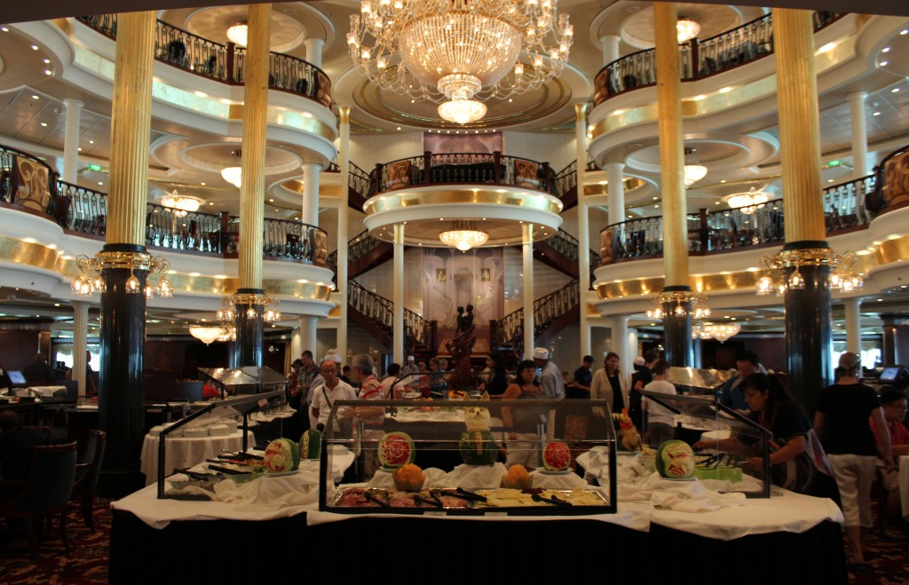 Three story dining aboard the Mariner of the Seas. You can enjoy a meal minutes after boarding.