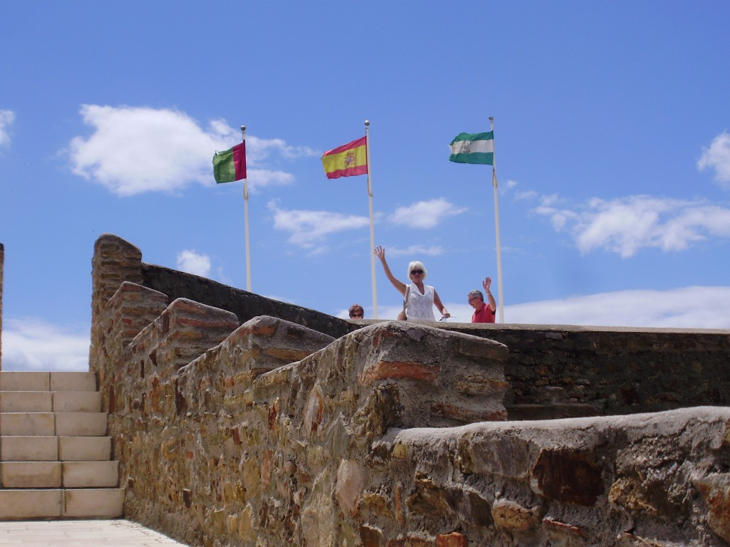 Janis, Chris and Sheila on the ramparts of the Castillo de Gibrilfaro