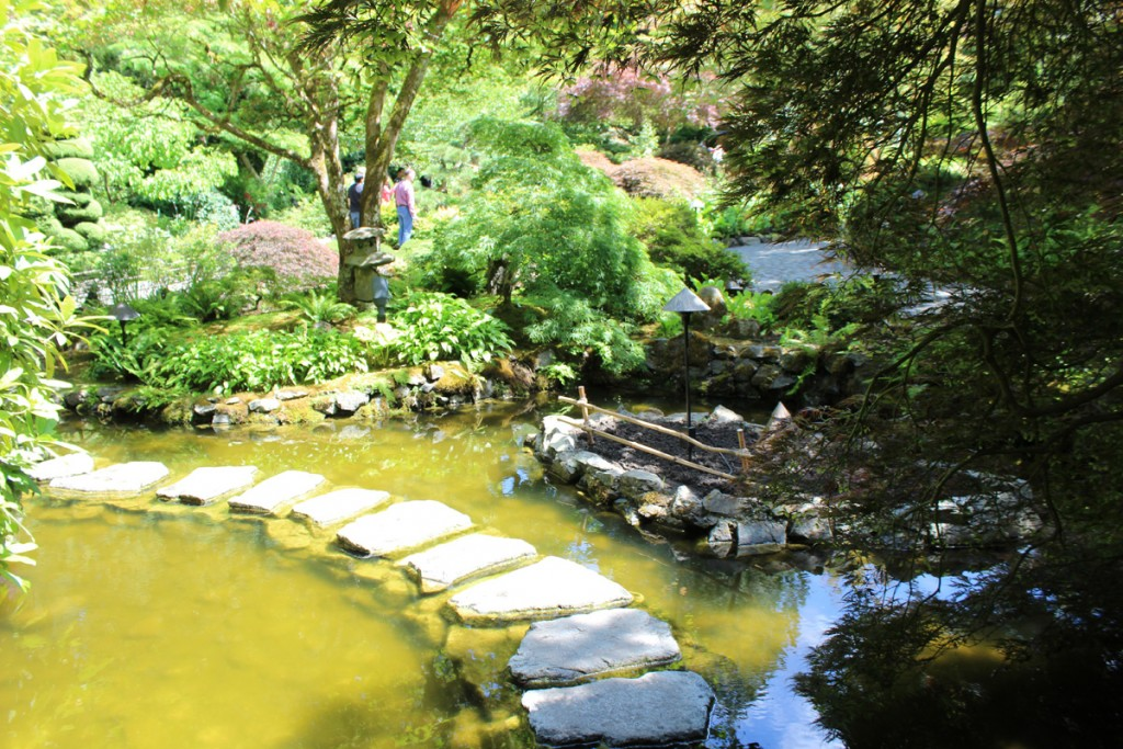 A stone path leads across this pond in the Japanese Garden