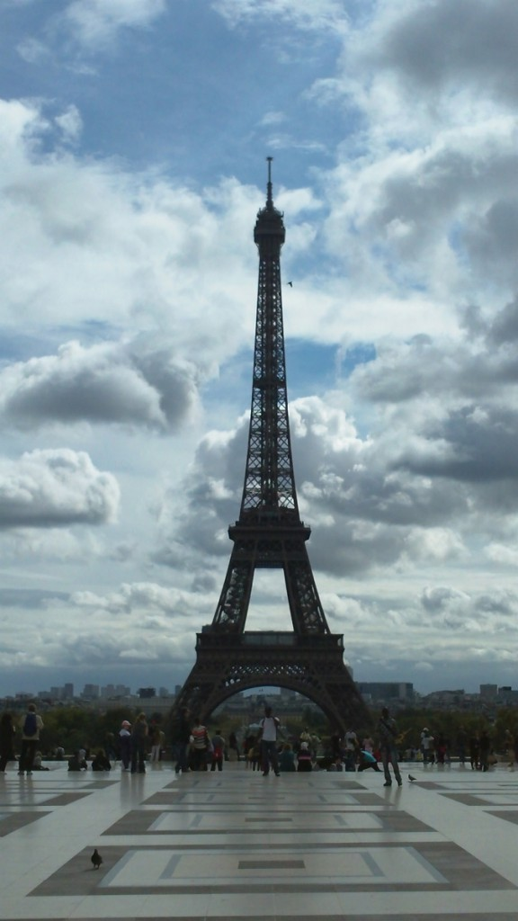The Eiffel Tower seen from the Trocadero Plaza.