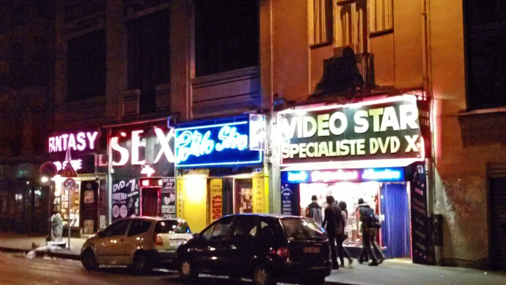 Side by side sex shops on Boulevard de Clichy just down the street from the Moulin Rouge.