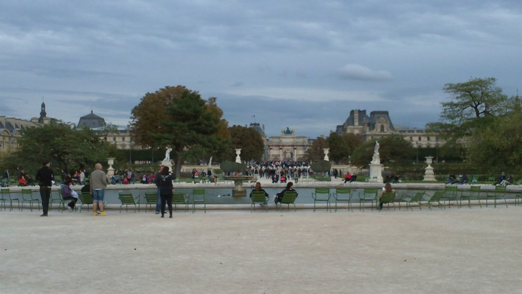 The Louvre seen from the round pond in the Tuileries Garden