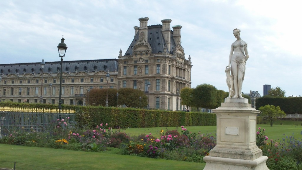 The Denon wing of the Louvre seen from the Jardin des Tuileries.