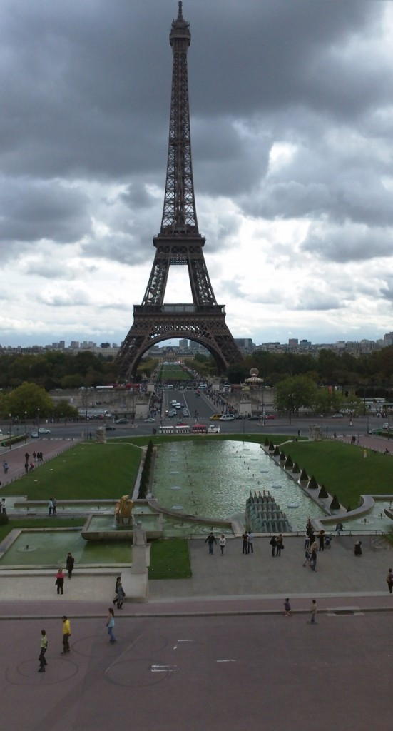 The Eiffel Tower seen from the edge of the Trocadero Plaza.