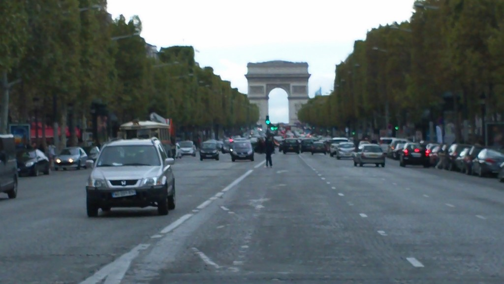 Looking up the Champs Elysées towards the Arc de Triomphe.