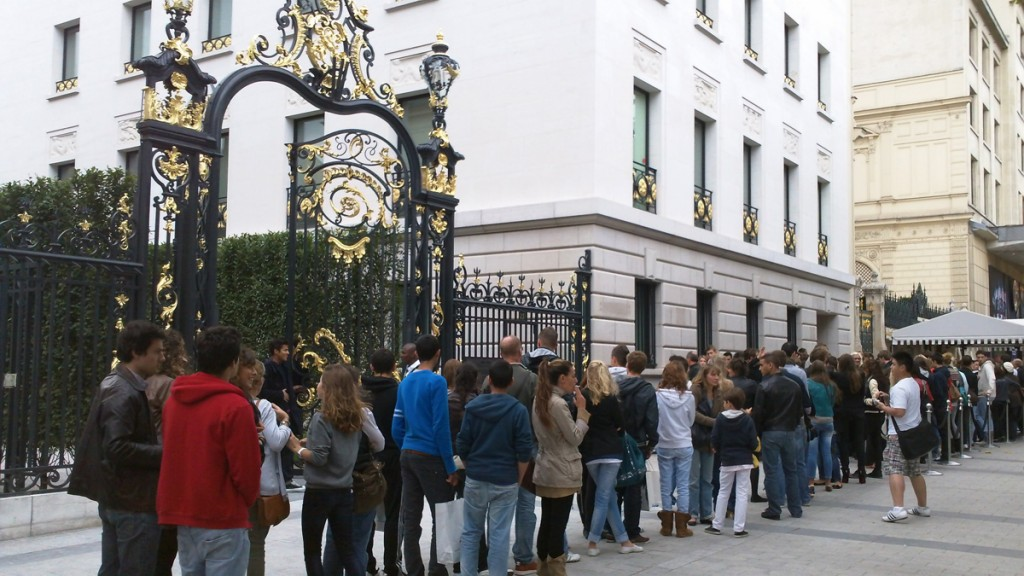 Job seekers outside Abercrombie and Fitch on the Champs Elysees.
