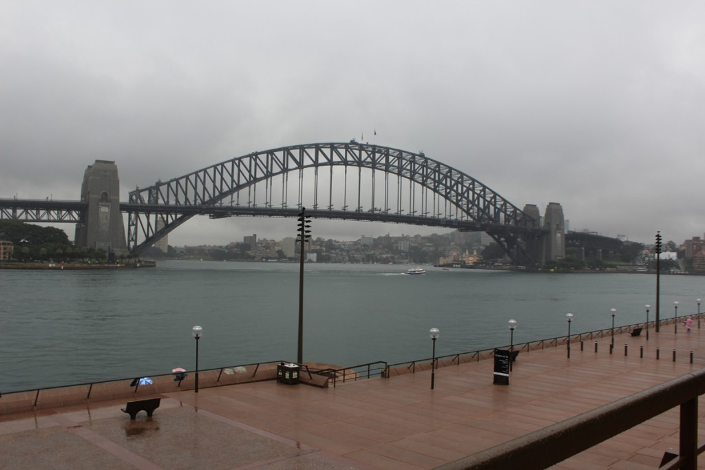 The Sydney Harbour Bridge seen from the steps to the Sydney Opera House