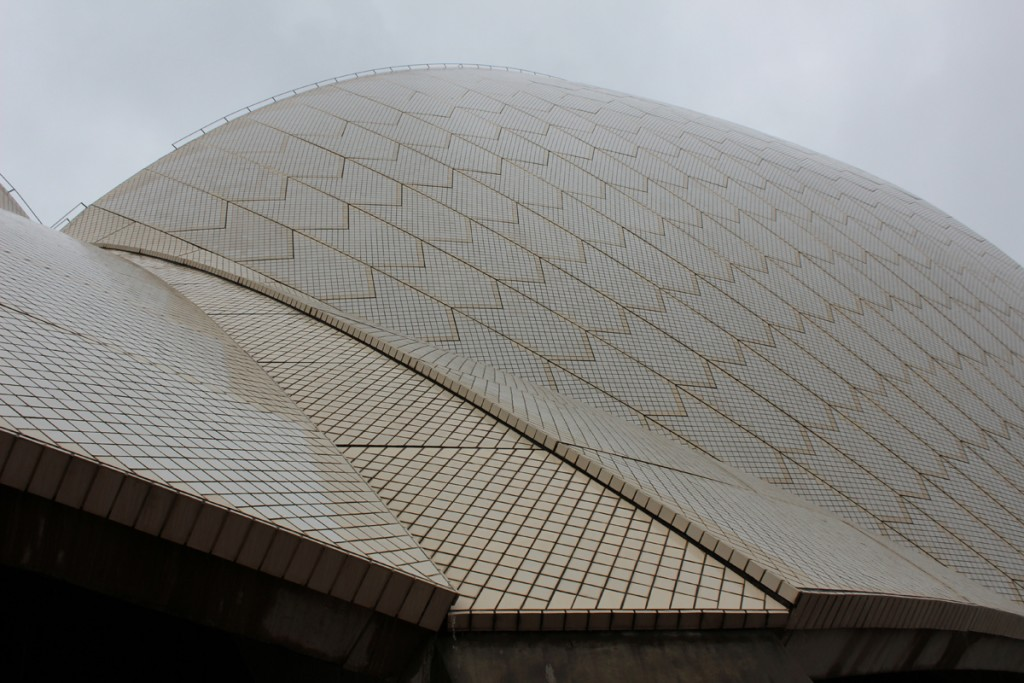 Some of the tile work on the sails of the opera house