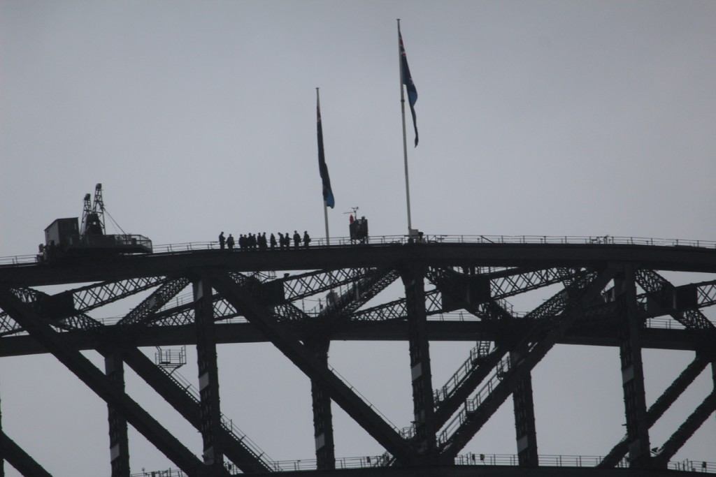 People at the top of the bridge