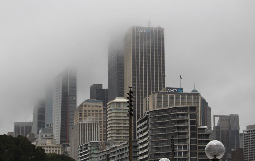 Low cloud cover obscures some of the downtown highrises giving the area an ethereal quality.