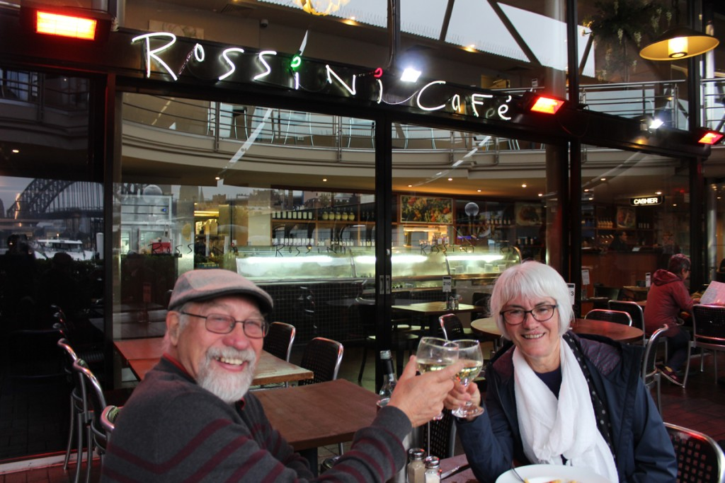 Janis and I have dinner at the Rossini Cafe on Circular Quay