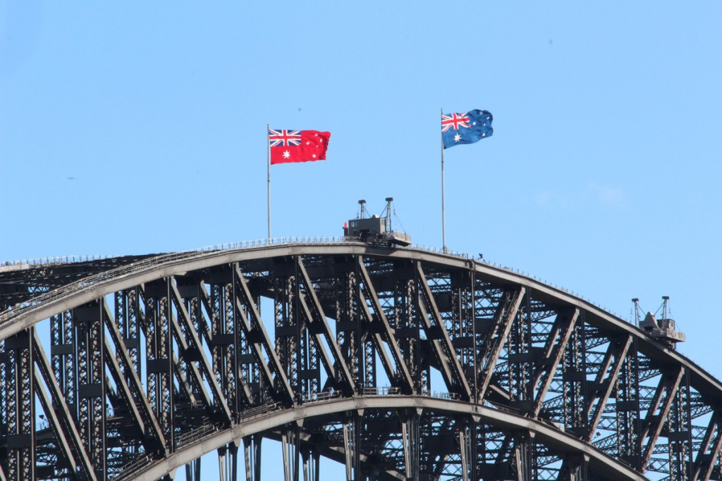 Flags atop the bridge
