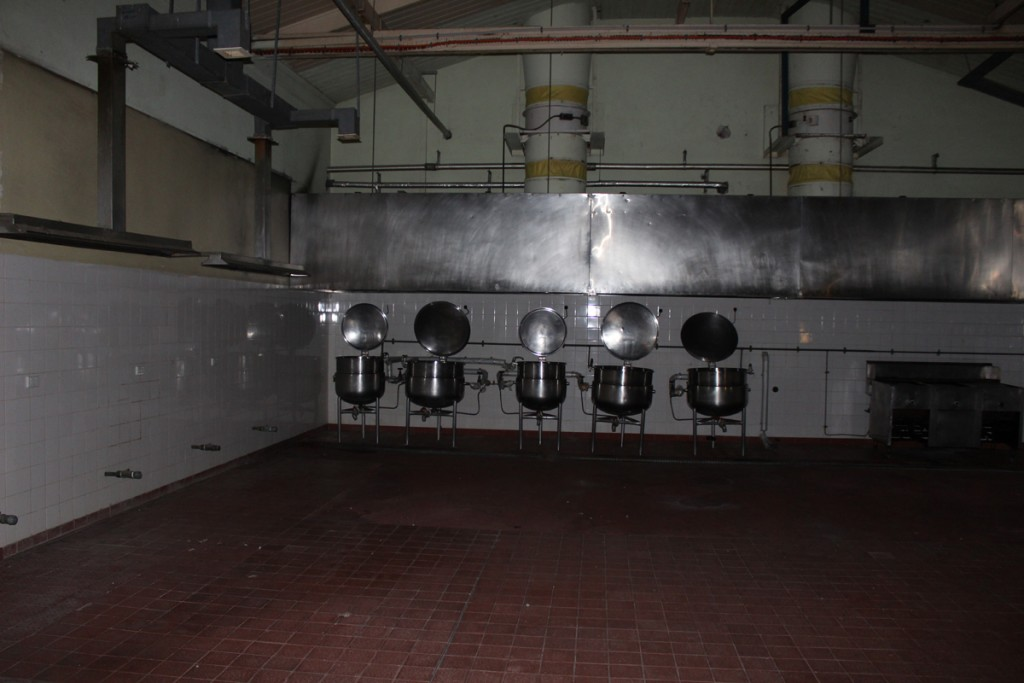 Cooking pots in the prison kitchen.