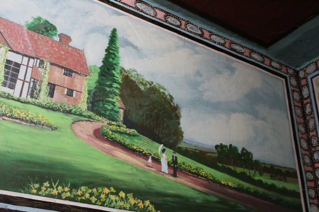 Garden scene painted by a special prisoner in his cell.
