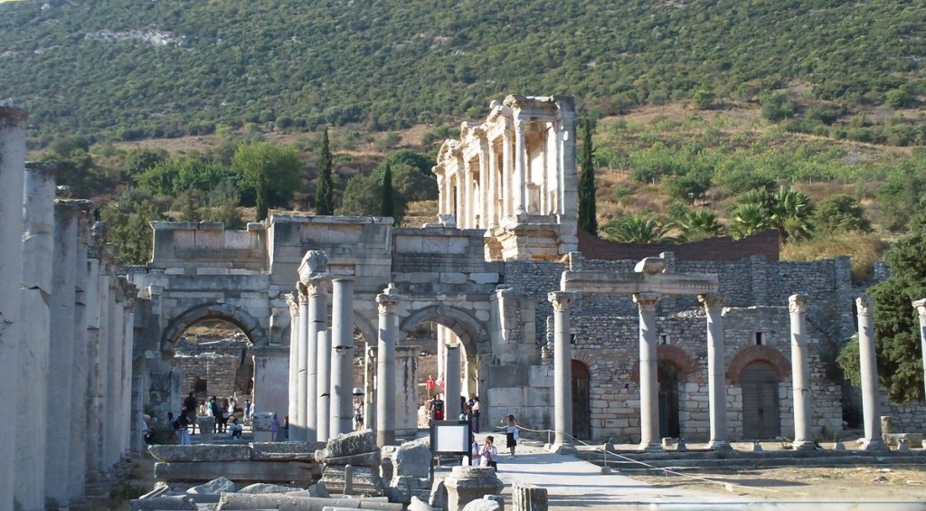 The Gate of Augustus - Celsus Library behind it.