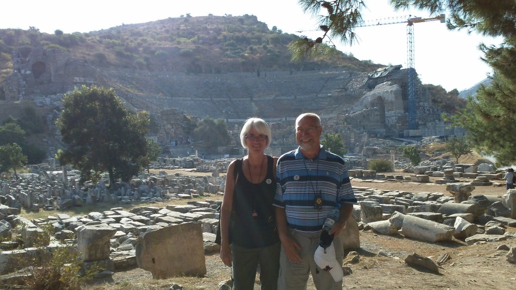 Janis and I in front of the Roman amphitheatre at Ephesus
