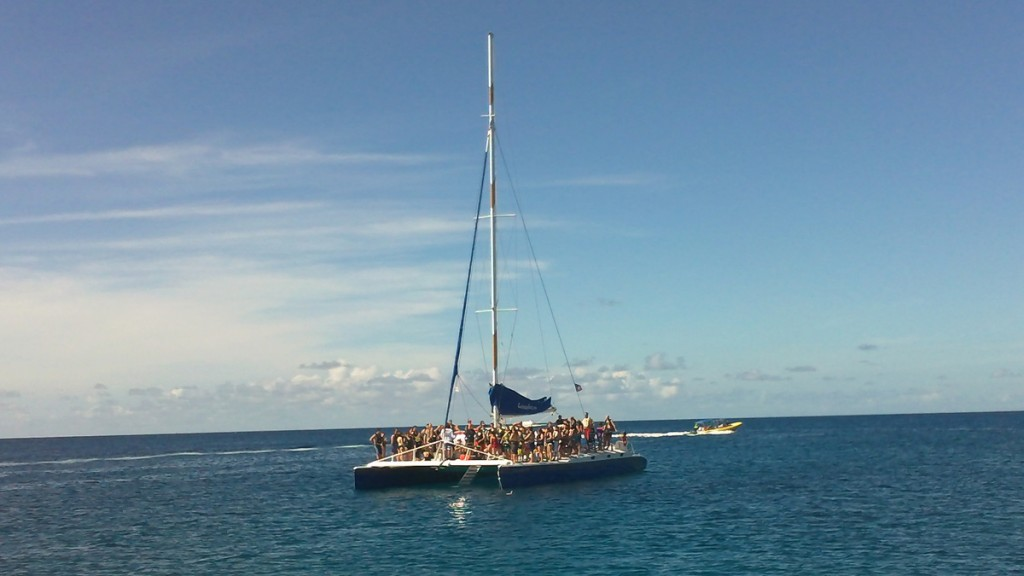 This catamaran loaded with tourists also entered our sheltered cove