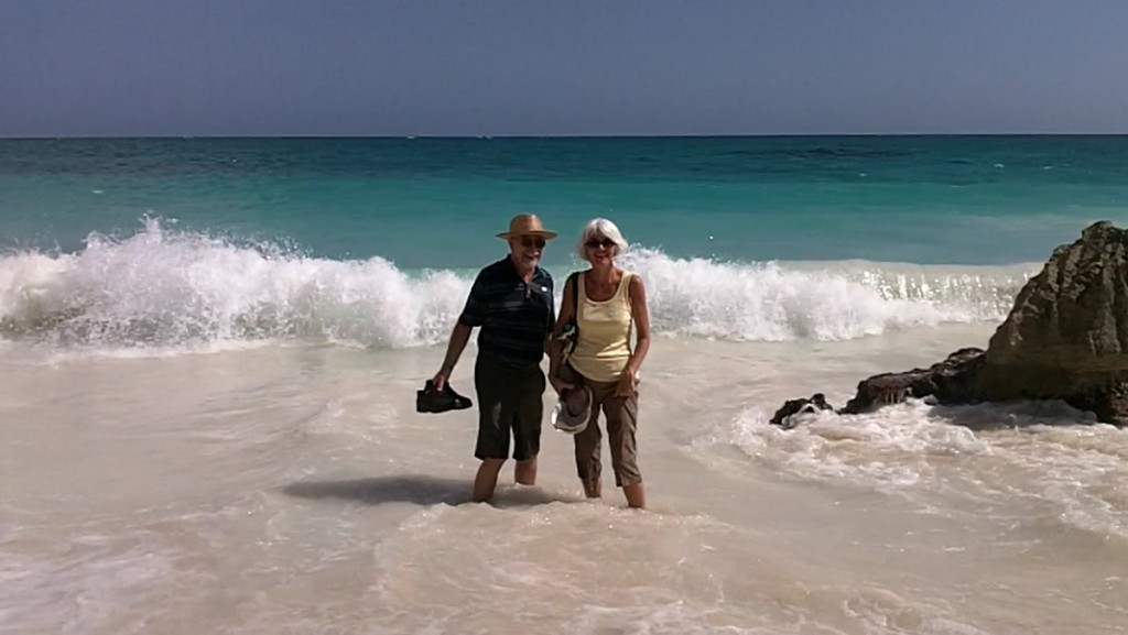 Janis and I in the surf at Tulum