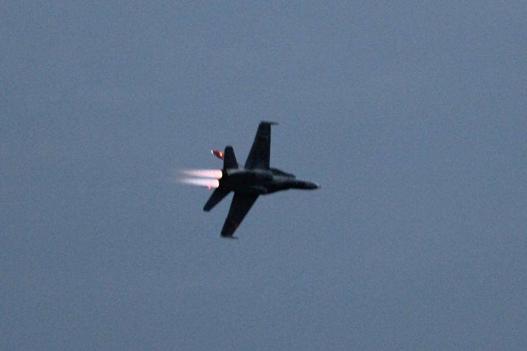 The CF-18 Hornet with after-burners on. Quite dazzling at dusk.