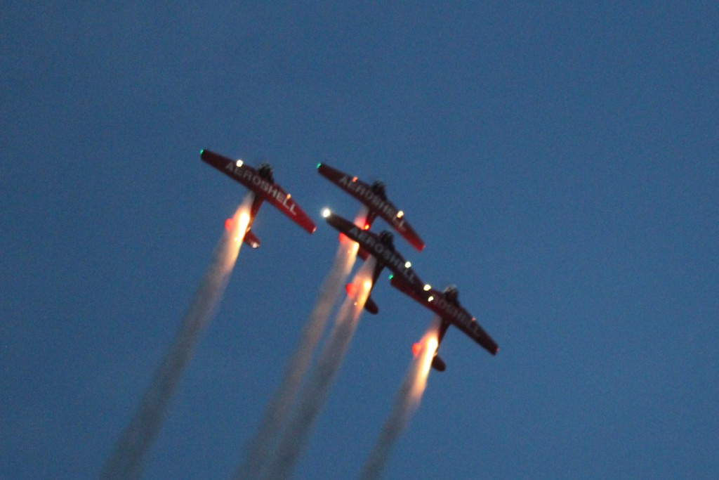 The AeroShell Aerobatic Team was ablaze with lights
